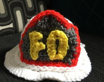 Crochet Baby Fireman Helmet Photo Prop