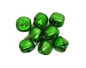 8 Green Jingle Bells, 25mm (1 Inch), Matte Finish