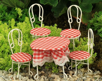 Wire Garden Furniture with Red Gingham Handmade Seat Pads and Table Cloth,  Fairy Garden Furniture, Accessories, Miniature Fairy Furniture