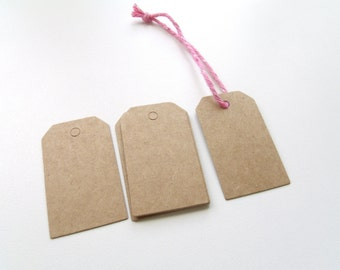 50 tags labels American Kraft 3 cm * 5 cm small size