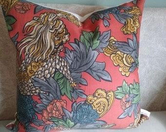 Dragon pillow cover, orange pillow cover, asian pillow, pillow cover, orange, gray, gold, dragon, decorative pillow, accent pillow