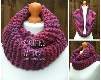 Womens Chunky Infinity Scarf Knitting Pattern PDF Instant Digital Download Knit It Yourself KPWI01