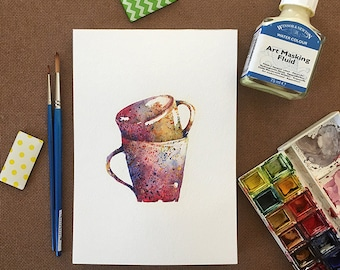 Watercolor Cups, Original Watercolor Painting, Stacked Mugs, Kitchen Art, A5, Home Decor