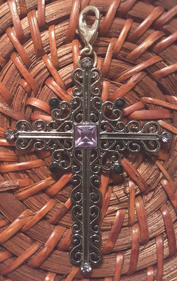Metal Cross Pendant / Removable Pendant / Purple Sparkly Pendant / Hanging Cross Pendant / Christian Pendant / Christian Jewelry/ PR6008