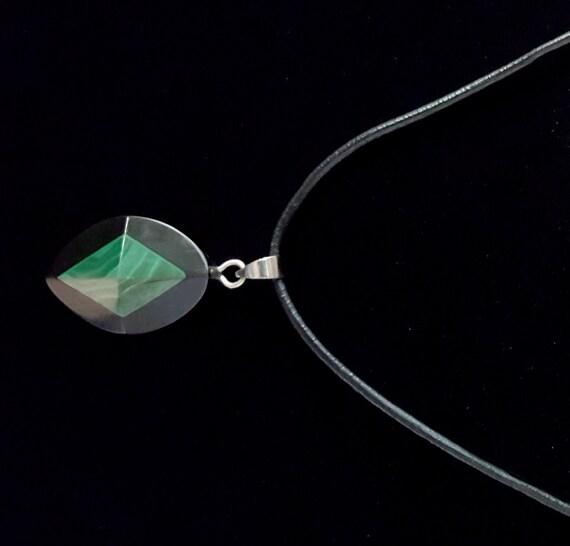 Malachite Green Petite Pendant / Malachite Green and Black Stone Pendant / Womans Pendant / Ladies Jewelry/ NP61020