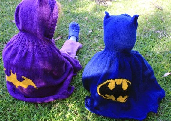Knitting pattern for Batman / Batgirl hooded cape from tiffanysknitting on Et...