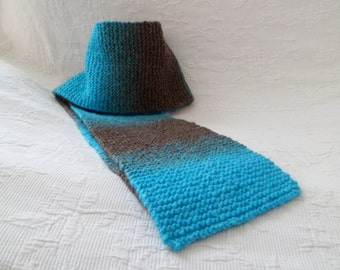 Scarf in turquoise blue and brown wool hand-knitted