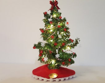 Dollhouse Miniature Christmas Tree (Red and White with Candy Cane Striped Ribbon, Red Balls and Snowflakes)