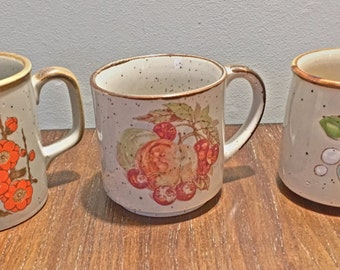 3 Grey Flowered/Spotted Coffee Mugs