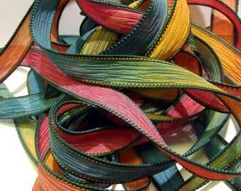 """1PC. QUENCH 42"""" hand dyed wrist wrap bracelet silk ribbon//Yoga wrist wrap bracelet ribbons//Hand dyed Boho Silk wrist wrap ribbon"""