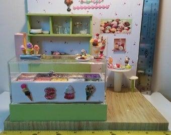 Miniature ice cream store, Miniature doll house, Miniature Sweet, Dollhouse Food. Ice cream, Ice,