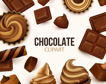 Chocolate clip art collection. Chocolate sweets clipart. Chocolate bars and cupcakes clipart. Vector graphic.