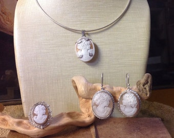 Necklace, pendant, earring, ring, cameos and silver.