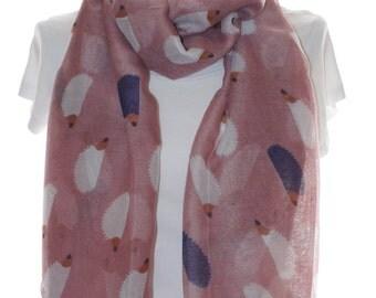 Pink hedgehog print scarf, Beach Wrap, Cowl Scarf, Hedgehog print scarf, cotton scarf, gifts for her
