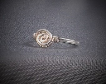 Sterling Silver Spiral Wire Wrap Ring choose your size