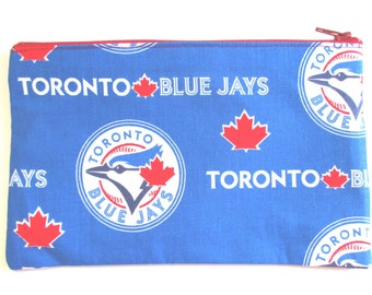 Toronto Blue Jays Fabric Pencil Case // Baseball Pencil Case // Toronto Pencil Case // Blue Jays Pouch
