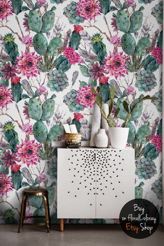 Cactus Wallpaper Succulents Removable Boho