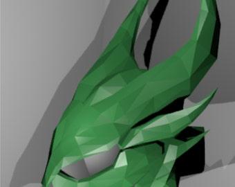 Skyrim cosplay Daedric helmet replica pattern for pepakura papercraft model 3-D printable