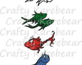One Fish Two Fish Red Fish Blue Fish SVG and DXF Ditial File Download