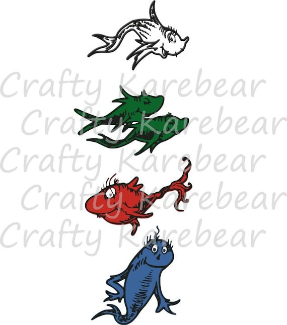 One Fish Two Fish Red Fish Blue Fish SVG and DXF Ditial File