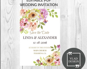 Floral Wedding Invitation Watercolor Save The Date - Instant Download Editable PDF DYI Add your own text form Customized Invitation