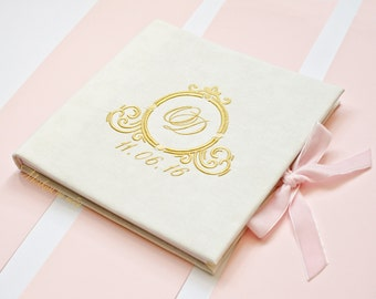 Embroidery Monogram Wedding Guest Book Sophisticated Elegant Classic Stylish FREE SHIPPING