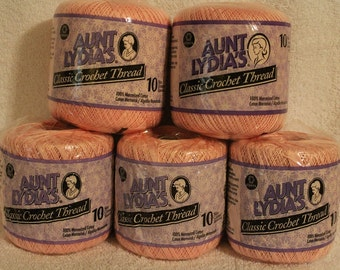 Aunt Lydia's~ Machine Washable ~ Classic Cotton ~ Crochet Thread~ Size 10 ~Orchid Pink ~ Coats & Clark ~ Great for Doilies and Tablecloths