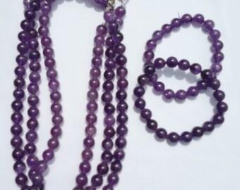 100% natural Amethyst beads Necklace & Bracelet