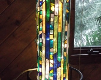 Stained Glass Mosaic Cylinder Light