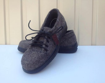 Felted wool shoes Organic eco women shoes wool rubber sole Felted shoes with rubber soles Warm shoes Valenki Felting gift boots slippers