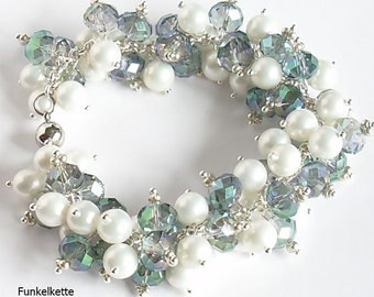 Bracelet beads bracelets blue green irrisierend white pearls sparkling and glittering a wonderful colour game length 21.5 cm