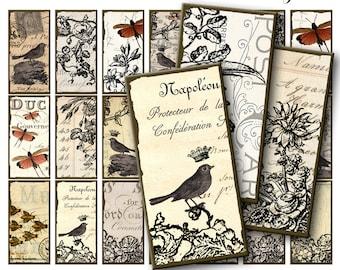 Vintage Paper / The Robin / Dominoes / collage sheets / vintage ephemera / scrapbook paper / vintage birds / embellishments/ backgrounds AB