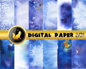 Blue Watercolor Digital Paper,Watercolor Scrapbook Paper,Watercolor Background,Watercolor Backdrop,blue digital paper,scrapbooking paper