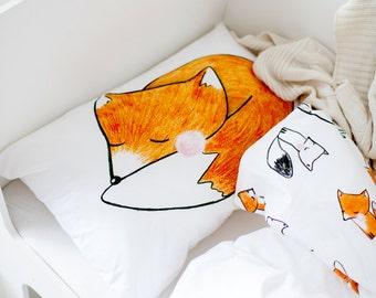 Fox Cot Baby Bedding - Crib Sheet - Cot Sheet - Nursery Bedding - Crib Bedding - Toddler Bedding - Nursery Decor - Gift