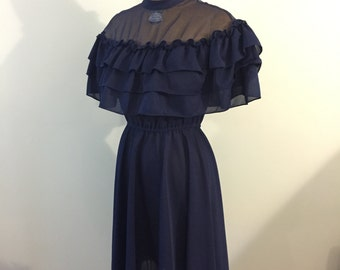Vintage Navy Blue Cape Dress
