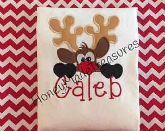Reindeer Peeking/Christmas Personalized Shirt/Holiday Monogrammed Shirt/Boy Christmas Shirt/Girl Personalized Shirt/Rudolph Red Nosed Reinde