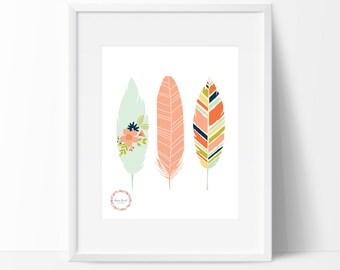 Decorative Feathers Wall Print_0025WP