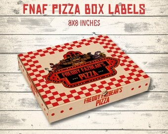 "FNAF pizza box, FNAF pizza labels, Five Nights at Freddy's pizza box! 8x8"" main label and 8x1.5"" side labels!"