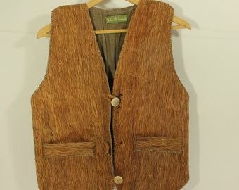 Bark Waistcoat, 1980s mint condition, early Komodo sustainable garment, REDUCED PRICE