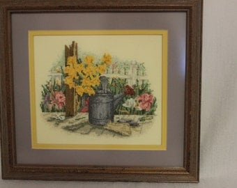 Framed Finished Cross Stitch-Flowers and Watering Can