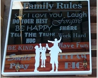 Mirror box - Family Rules 600x600mm