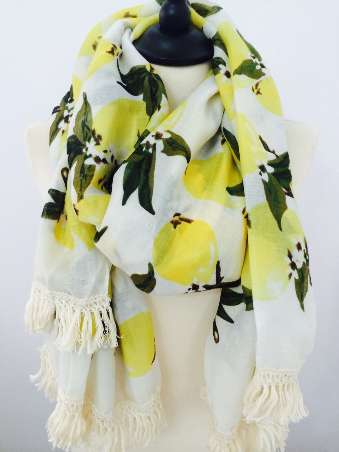 Womens Scarves, Scarf, Lemons Printed Scarf, Winter Scarf, Fall Scarf, Gift For Her, Long Scarf, Scarf for Women, Wide Scarf