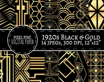 Art Deco Digital Paper Black and Gold, 14 JPGs Personal, Commercial Use, gold digital paper, gatsby digital paper, diy twenties scrapbooking