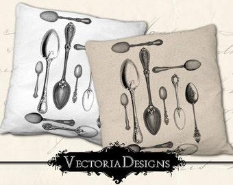 Vintage Spoons digital transfer image iron on printable instant download digital collage sheet - VDTRVI0890