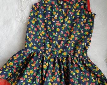 Navy floral cotton dress