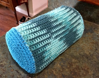 Handmade Crocheted Perfect Temperature Gel Memory Foam Pillow Turquoise and Blues