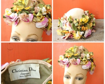 vintage Christian Dior Chapeaux floral bouquet hat . 1950s Dior hat with flowers on satin