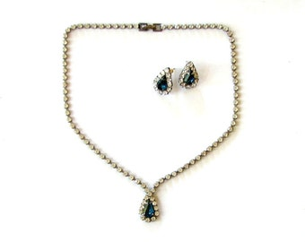 vintage rhinestone necklace and earrings set . clear & blue rhinestones, prong set, pierced earrings