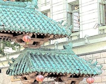 San Francisco Chinatown Gate Photo Sketch, Chinese Art, Lanterns, 8x8 Fine Art Print