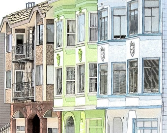 Russian Hill Houses Photo Sketch, San Francisco Architecture, 8x8 Fine Art Print
